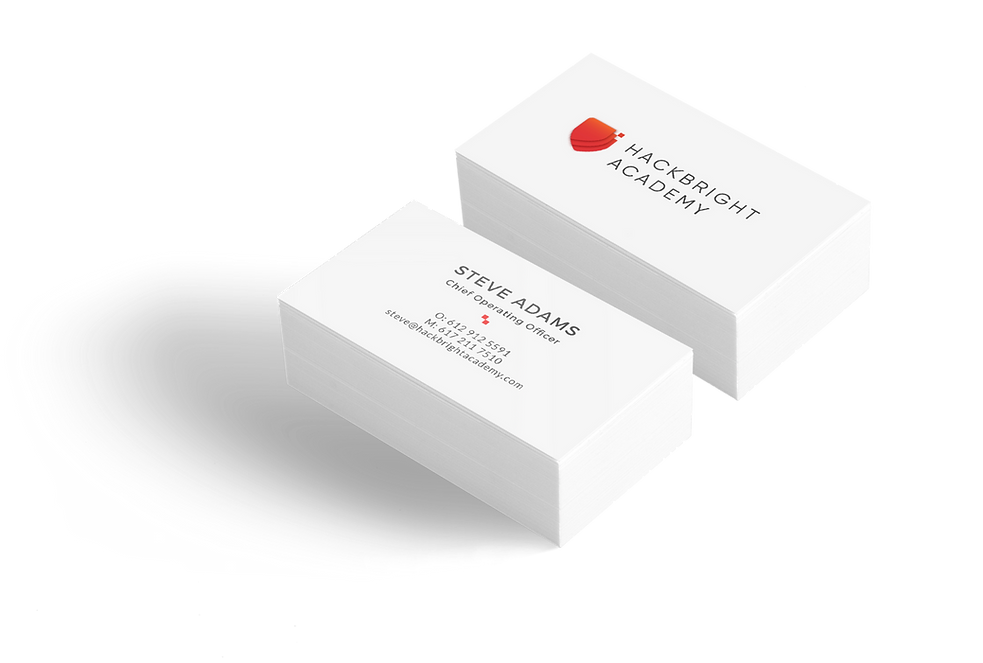 Brand materials such as business cards for Hackbright Academy