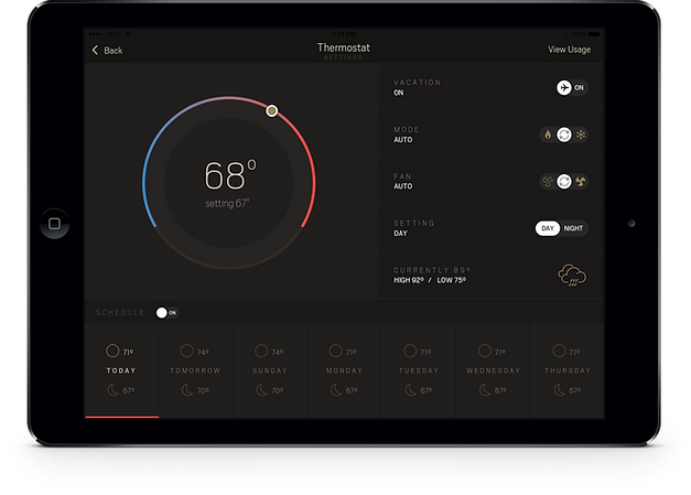 Urbane Thermostat feature on an iPad tablet.