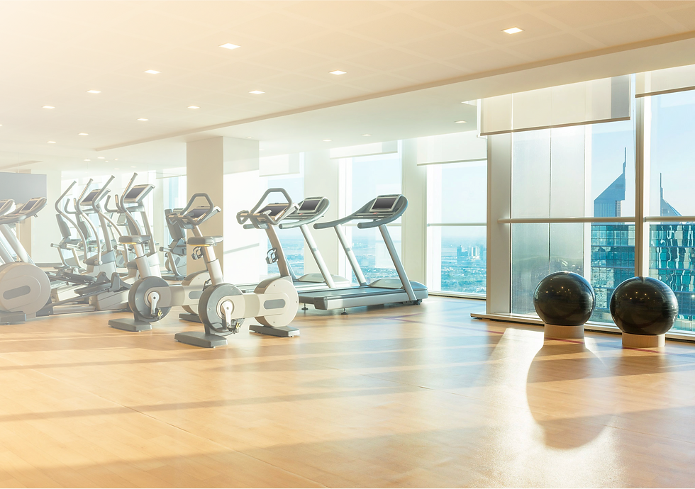 Gym with bike equipment and treamills
