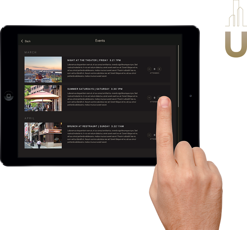 Urbane Events feature on a tablet