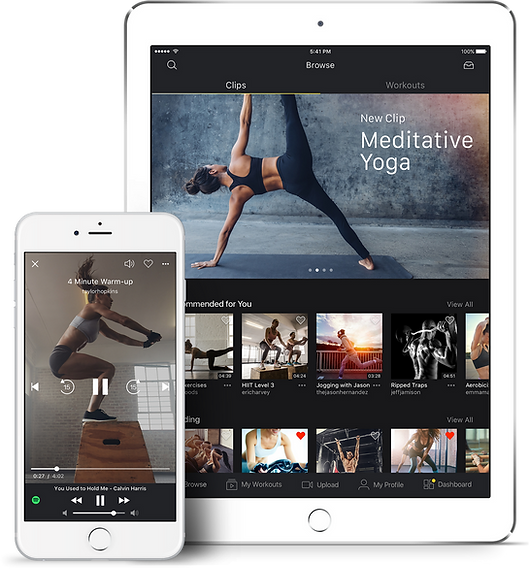 VYTL Fitness app product design on a phone and tablet
