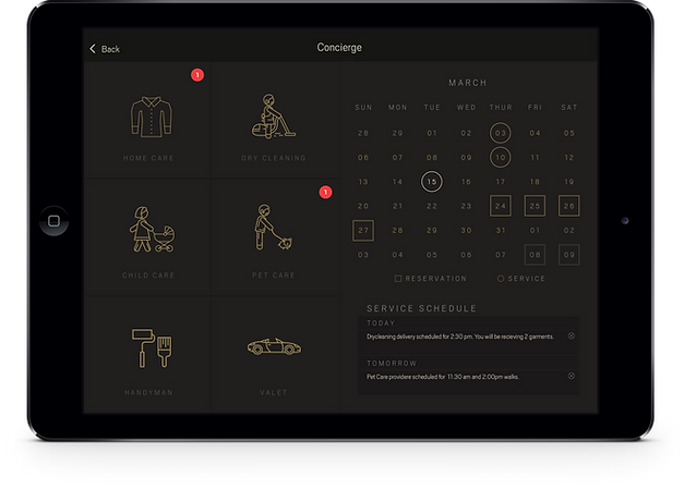 Urbane Concierge on an iPad tablet.