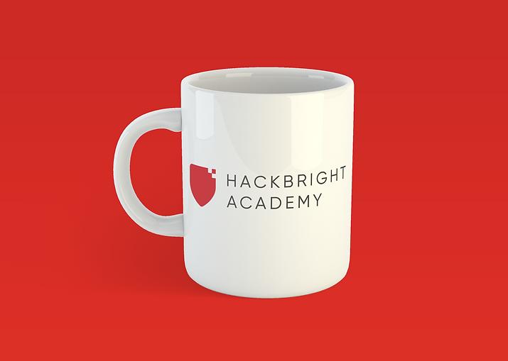 White coffee mug with Hackbright Academy branding
