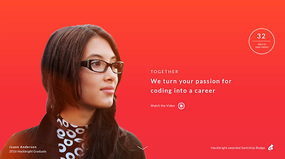 Hackbright Academy marketing website design - Part of our UX & Branding Portfolio