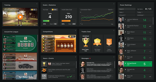 Vivint internal sales gamification platform user interface