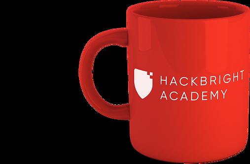 Red coffee mug with Hackbright Academy branding
