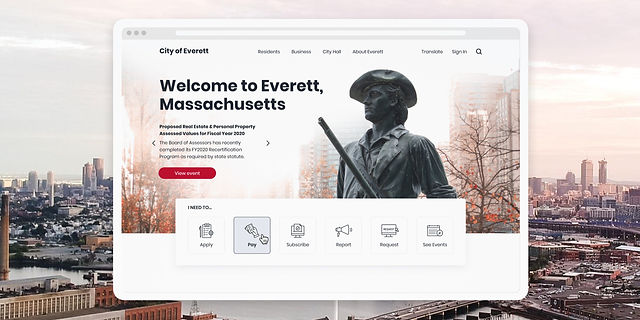 City of Everett home page on a tablet device - Part of our UX UI Portfolio