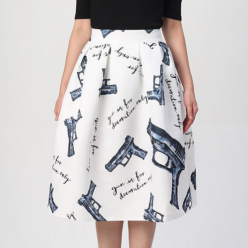 Gun is for decoration only Pleated Skirt