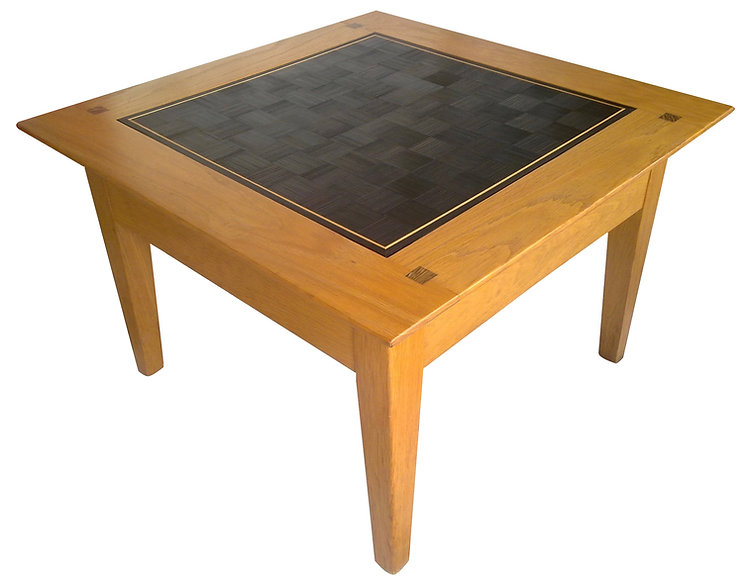 Marqueterie de paille - Table damier - Artisanat d'art - Made in France