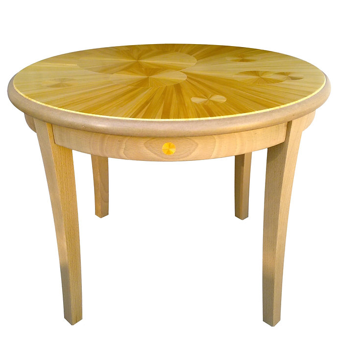 Marqueterie de paille - Table basse soleil - Artisanat d'art - Made in France
