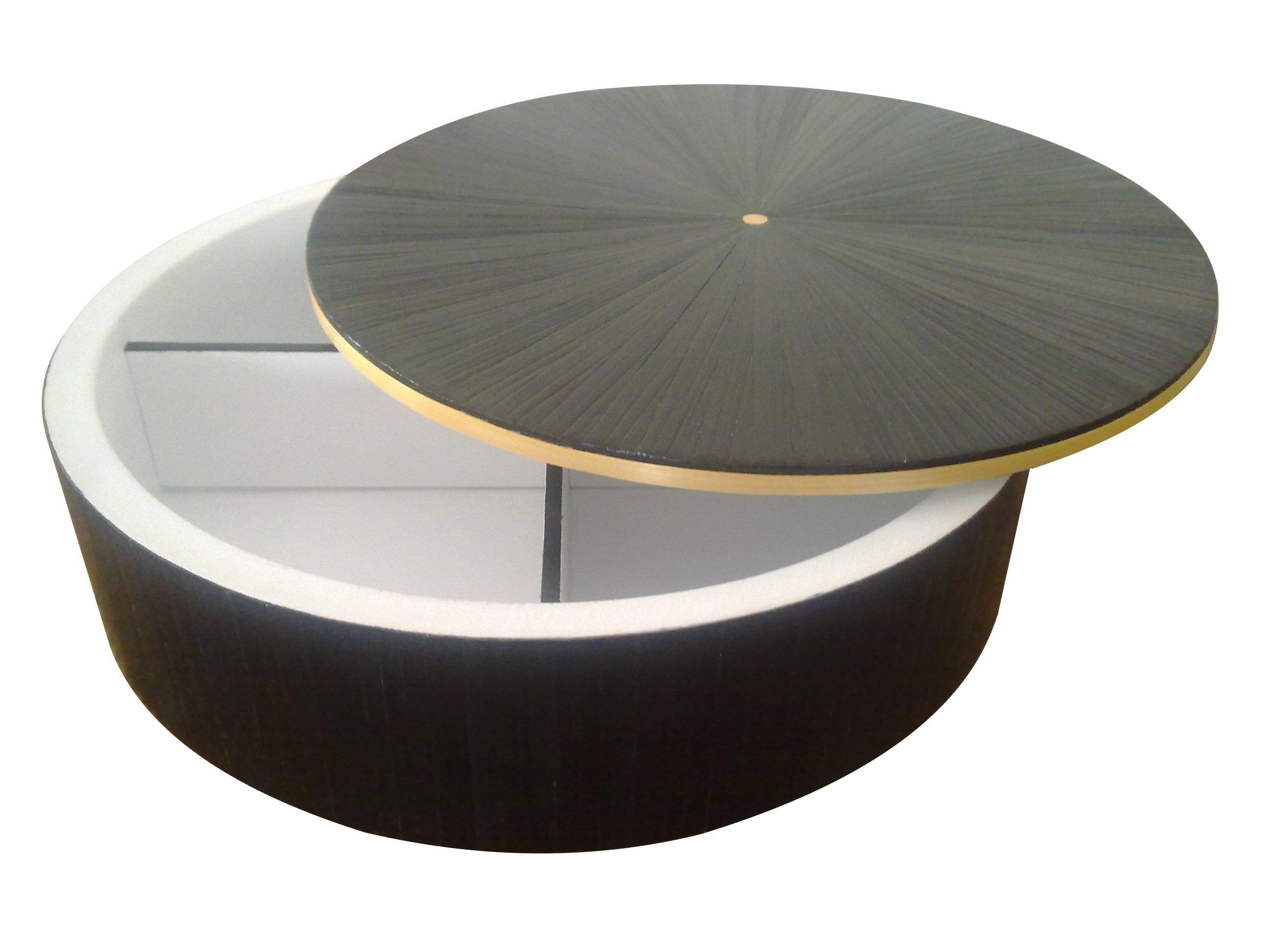 Marqueterie de paille - Boite ronde noire