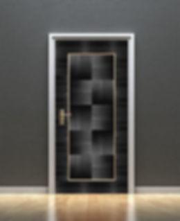Marqueterie de paille - Porte damier noir - Artisanat d'art - Made in France