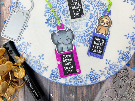 All That Sparkles SNS December Blog Hop|Lawn Fawn Slow Down And Enjoy Bookmarks