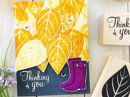 Pretty Fall Rain Boots and Leaves with Simply Stamps