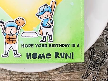 Stencil Masking & Ink Blending Baseball Card   Waffle Flower Crafts & Heffy Doodle