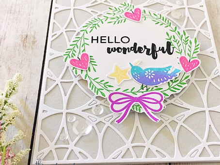 Hello Wonderful!|Catherine Pooler Stained Glass Cover Plate and Inks