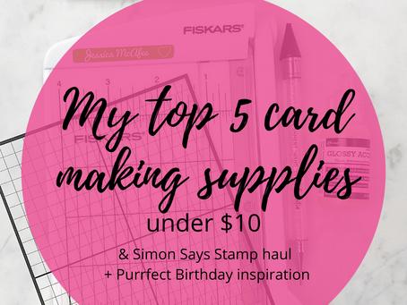 My Top 5 Cardmaking Supplies Under $10 | Simon Says Stamp Birthday Haul + Puurfect Birthday Freebie