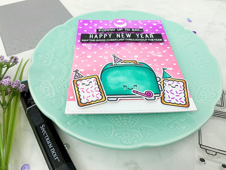 Poppin' up to say, it's been a slice|Lawn Fawn New Years Card