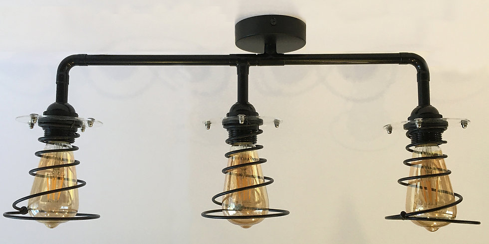 Steel Springs 90° Ceiling Light - Includes Bulbs