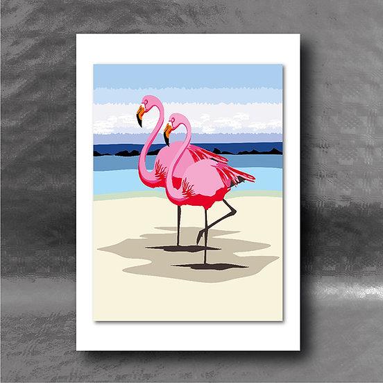 Pretty Flamingos Greetings Card
