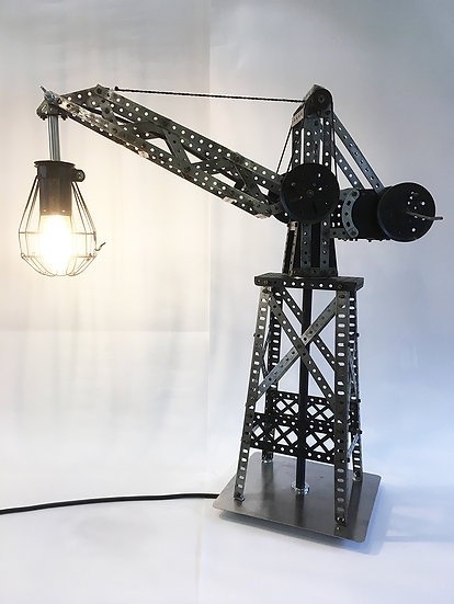 Black and Raw Steel Meccano Crane