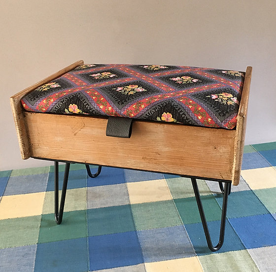 Fabric Covered Lidded Stool