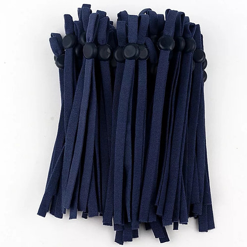 Adjustable elastic for face coverings sold per pair. Navy blue.