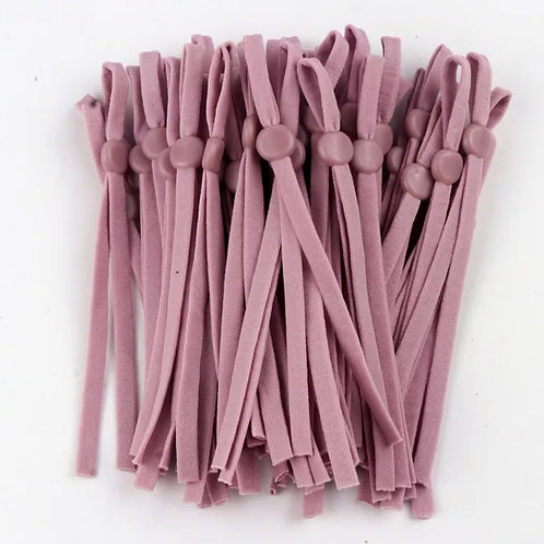 Adjustable elastic for face coverings sold per pair. Dark dusky pink.