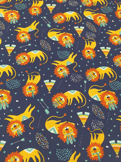Cotton Jersey - Lion Print -  Navy And Multi