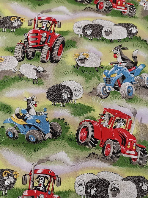 Quilting Cotton - Nutex - 61810 - Field Days - 101 - Green Tractors