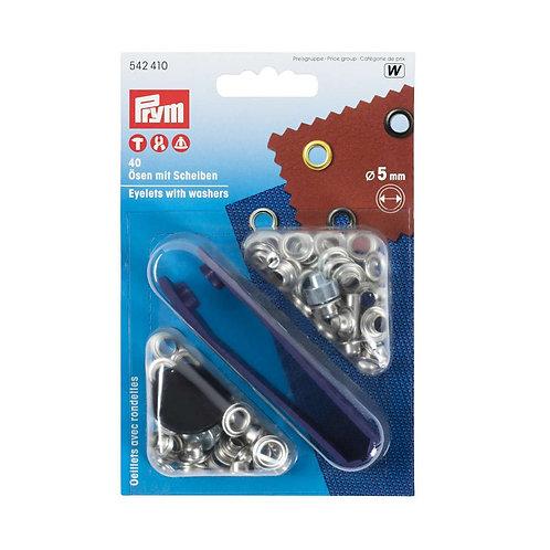 Prym 5mm silver eyelets with tool