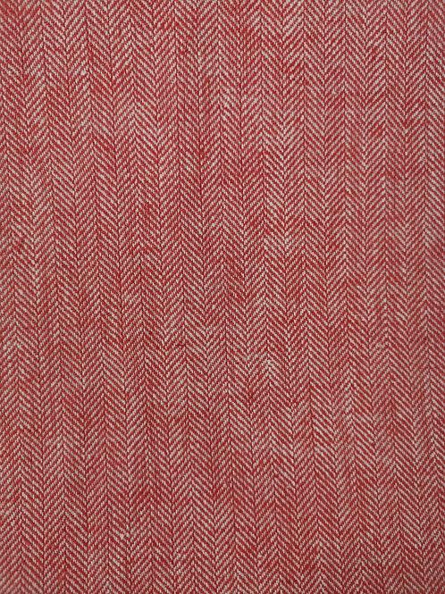 Dress Fabrics - Linen Mix - Brick Red Self Striped Herringbone