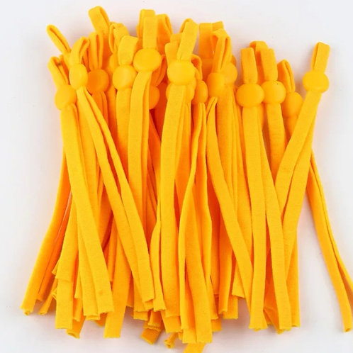 Adjustable elastic for face coverings sold per pair. Bright yellow