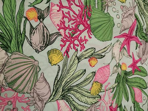 Dress Fabrics - Viscose - Sea Print - Green, Pink And Multi