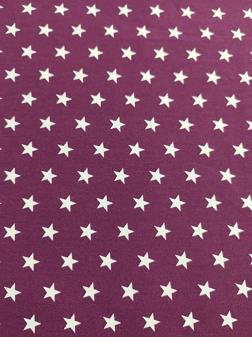 100% Cotton - Star Print - plum And White