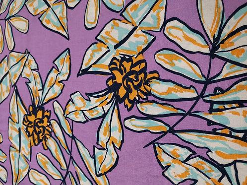Dress Fabrics - Linen Mix - Floral - Purple And Multi