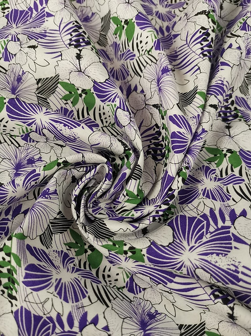 Dress Fabric - Cotton Lawn - Floral  Print - White And Multi