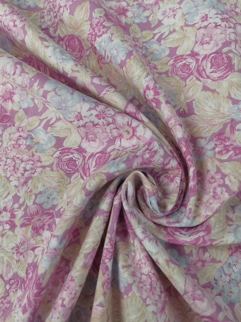 Dress Fabric - Cotton Lawn - Floral  Print - Pale Pink And Multi