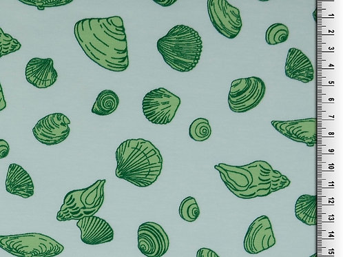 Cotton Jersey - Shell Print - Ivory And Green
