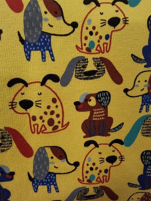 Organic Brushed Back Cotton Jersey - Dog Print - Yellow  And Multi