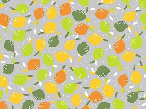 Cotton Poplin - Fruit Print - Grey and Multi