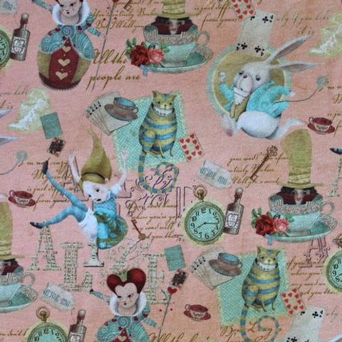 Cotton Jersey - Alice In Wonderland Print - Pink And Multi