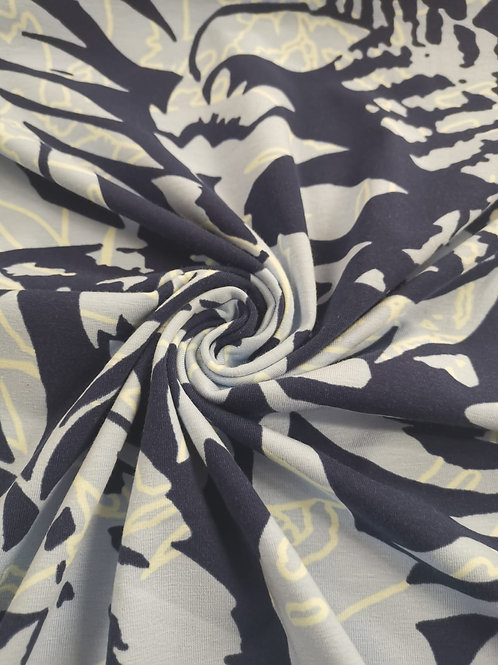 Cotton Jersey - Leaf Print - Navy And Grey