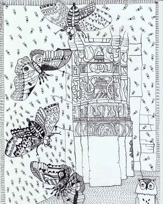 """The Qutub Minar Butterfly Invasion"" by Artist Shantala Palat"