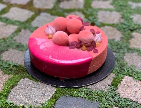 Hallon & karamelltårta 10-bitar