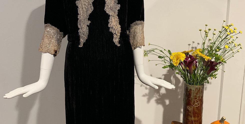 1930's Velvet & Lace Dress