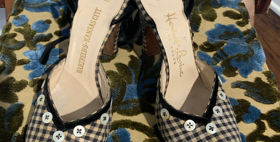 Antique Gingham Print Shoes
