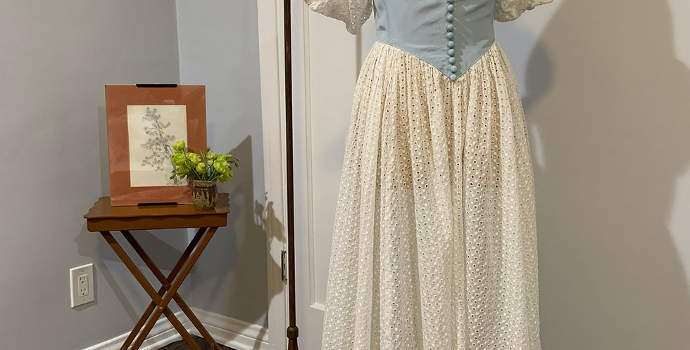 1940's Eyelet Cotton Dress w Bustier Bodice