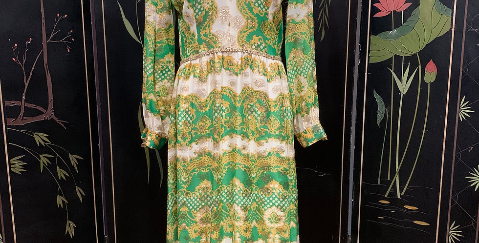 Vintage Green and Gold Lurex Maxi Dress