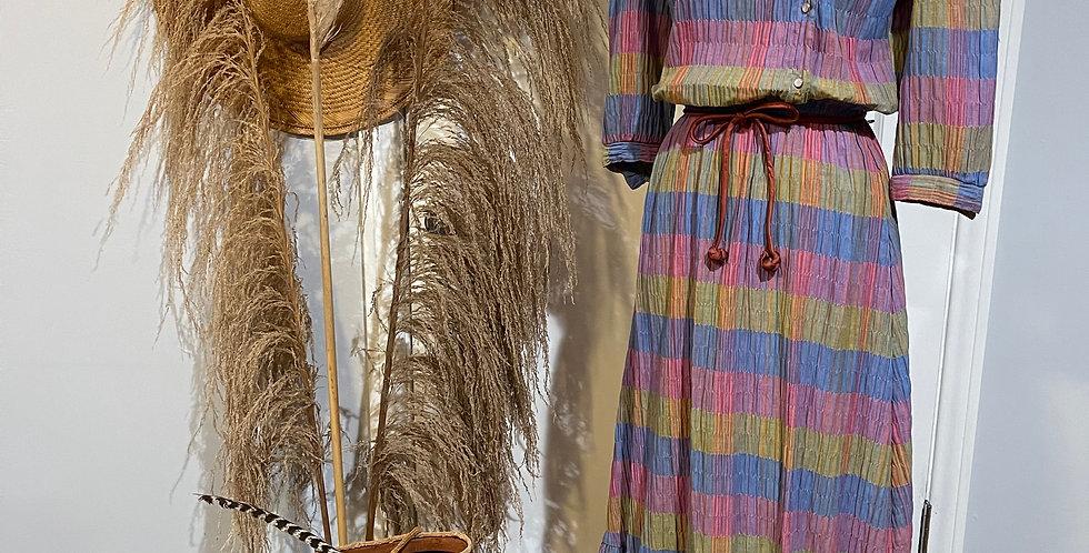 Vintage Hand Pleated Cotton Dress